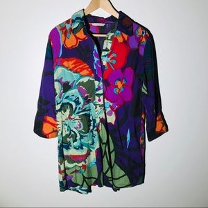 SOFT SURROUNDINGS tropical floral tunic SZ S